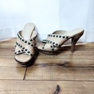 Lisa Donald J Pliner Studded Heels Sandals 10